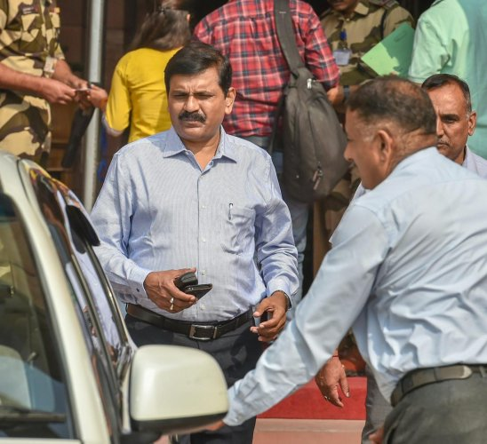 Interim director of the CBI M Nageswara Rao seen at Home Minister's office, in New Delhi, on Oct 25, 2018. PTI