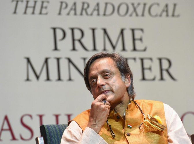 Tharoor on Sunday claimed that an unnamed RSS source had told a journalist that Prime Minister Modi was like a scorpion sitting on a Shivlinga who cannot be removed by hand or hit with a chappal (slipper). (PTI Photo)