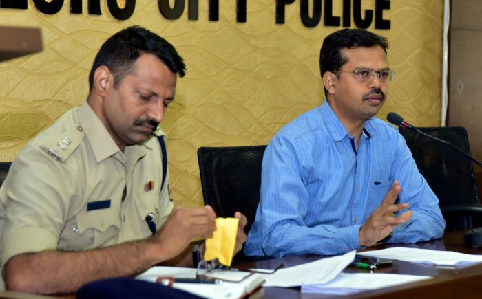 Superintendent of Police (Civil Rights Enforcement) CB Vedamurthy speaks during the monthly SC/ST grievance meeting held at the office of Commissioner of Mangaluru City Police in Mangaluru on Sunday.