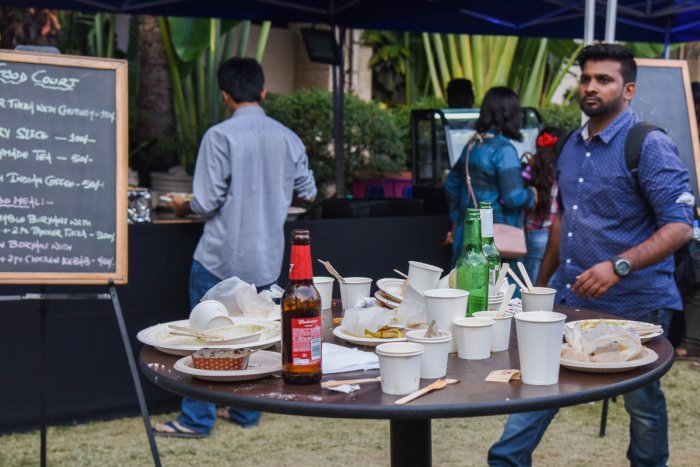 Waste seen on the tables at the festival. DH Photo/S K Dinesh