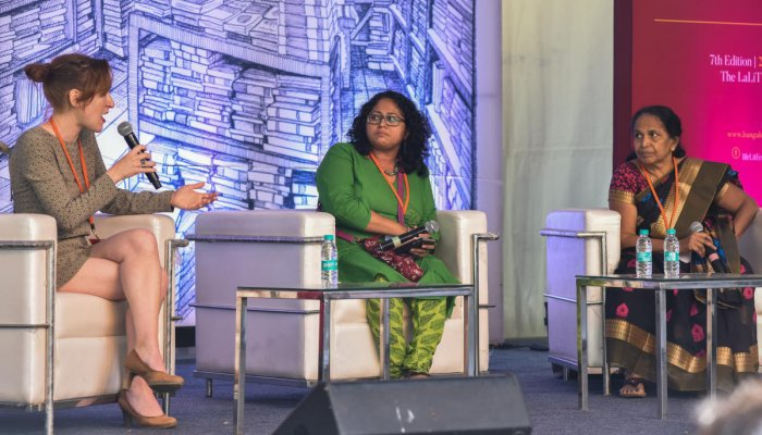 Nora Bossong, Reshma Bharadwaj, Nalini Jameela in The Business of Sex seminar at Bangalore Literature Festival at The Lalith Ashok in Bengaluru on Saturday. Photo by S K Dinesh