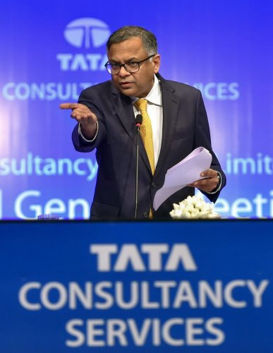 Natarajan Chandrasekaran, chairman of Tata Sons, addresses the annual general meeting of Tata Consultancy Services (TCS), in Mumbai on Friday. PTI