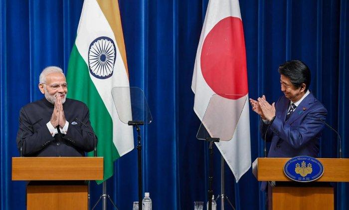 Prime Minister Narendra Modi and Japanese Prime Minister Shinzo Abe during the Joint Press Statement, in Tokyo, Japan, Monday, Oct 29, 2018. (PIB Photo via PTI)