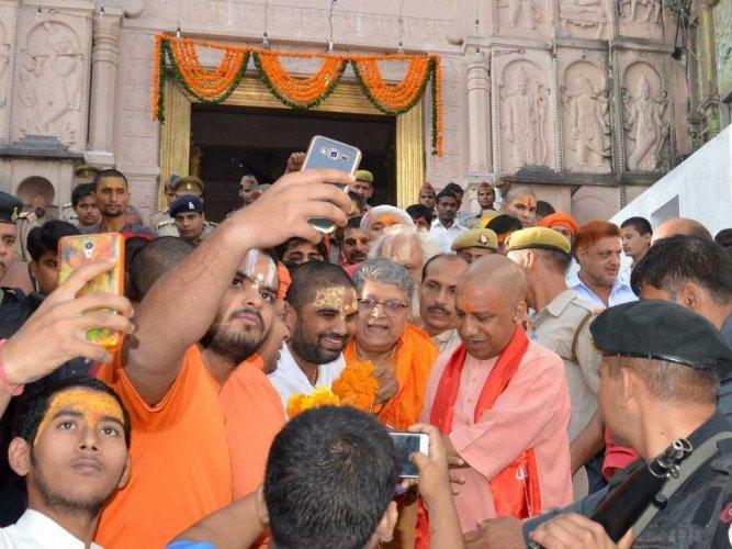 Yogi Adityanath at a temple in Ayodhya. PTI file photo.