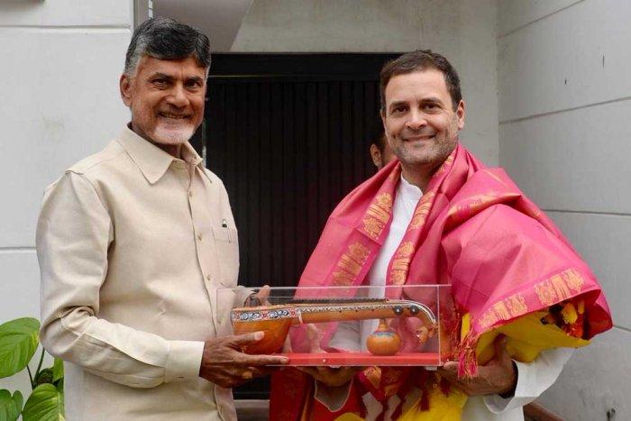 Andhra Pradesh Chief Minister N Chandrababu Naidu andCongress president Rahul Gandhi. DH Photo