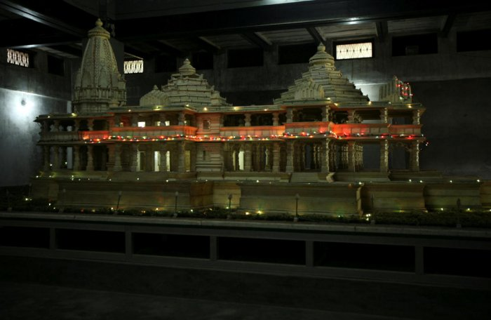 A model of a proposed Ram temple is pictured in Ayodhya. REUTERS/File photo