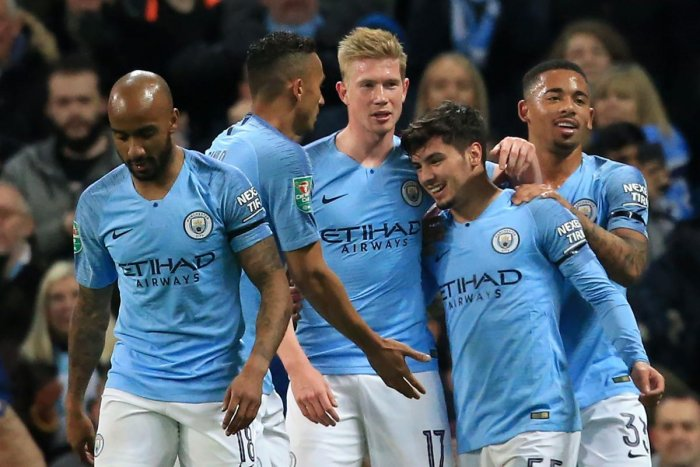 TEEN ON TARGET: Manchester City's Brahim Diaz (second from right) is congratulated by his teammates after scoring against Fulham on Thursday. AFP