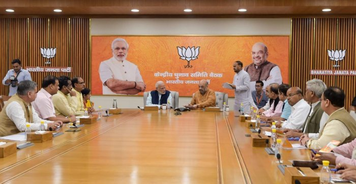 Prime Minister Narendra Modi, BJP President Amit Shah and other leaders during the party's Central Election Committee meeting at party headquarters in New Delhi. (PTI Photo)