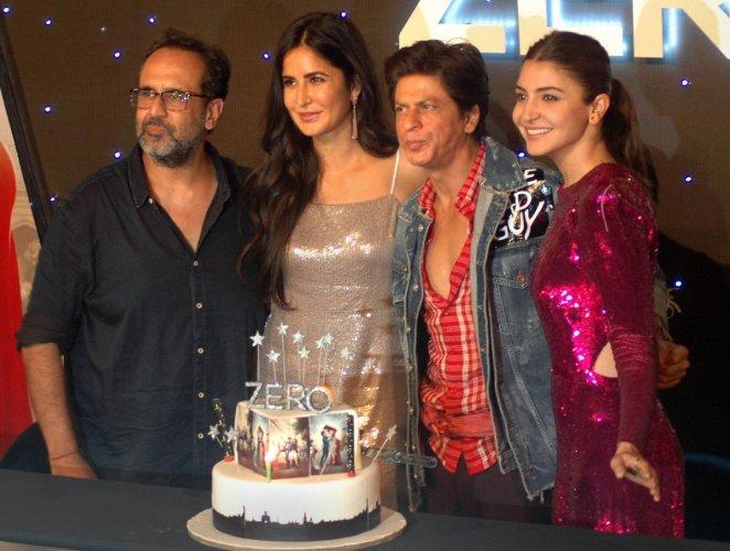 Bollywood actor Shahrukh Khan with actress Katrina Kaif, Anushka Sharma and filmmaker Anand L Rai during the trailer launch of their upcoming film Zero in Mumbai. PTI Photo