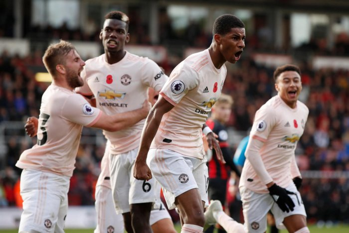 FINE FINISH: Manchester United's Marcus Rashford (second from right) celebrates after scoring the winner against Bournemouth on Saturday. Reuters