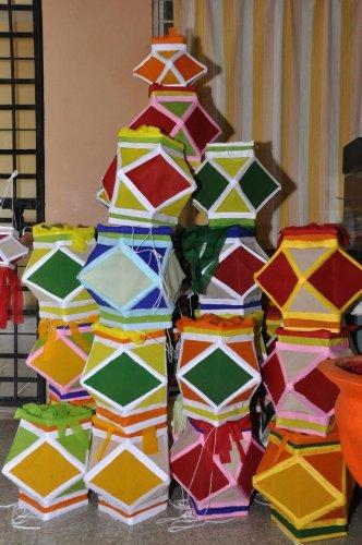 Sky lanterns made at the Samarpana Trust