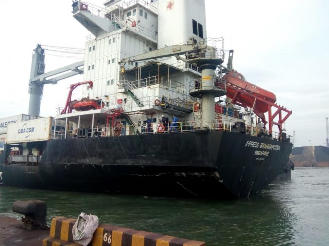 Container ship, MV X- press Brahmaputra, re-berthed at Berth number 2 after an oil spill in New Mangalore Port on Saturday.