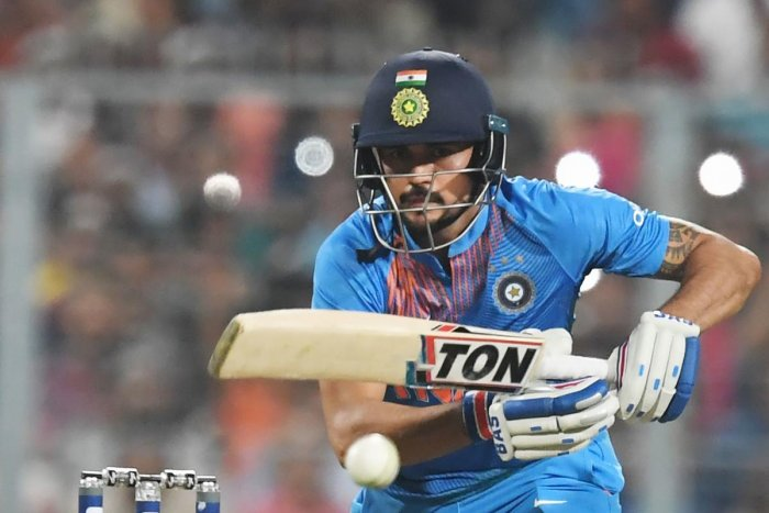 Manish Pandey plays a shot during the first T20 cricket match between India and West Indies at the Eden Gardens Cricket Stadium in Kolkata on November 4, 2018. AFP