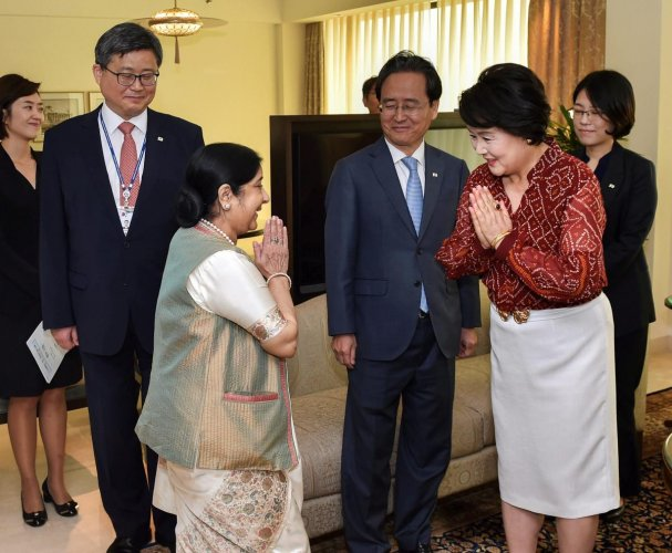 External Affairs Minister Sushma Swaraj greets South Korean First Lady Kim Jung-sook before a meeting, in New Delhi, Monday, Nov 5, 2018. (PTI Photo)