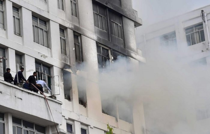 Fire Brigade officials confirmed that the fire safety measures of the building functioned properly and played a key role in dousing the flames on time. (PTI Photo)