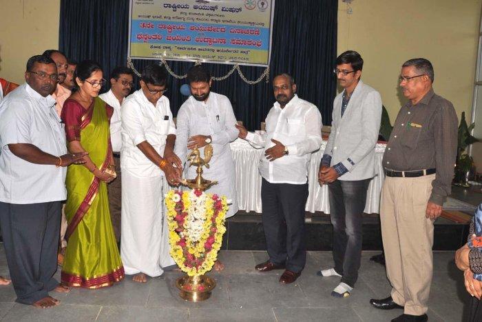 MLC S L Bhojegowda and MLA C T Ravi inaugurate National Ayurveda Day programme in Chikkamagaluru on Monday.