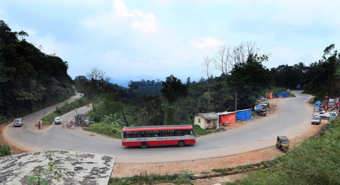 Hassan district administration is yet to give clearance for allowing heavy vehicles on Shiradi Ghat. (DH File Photo)
