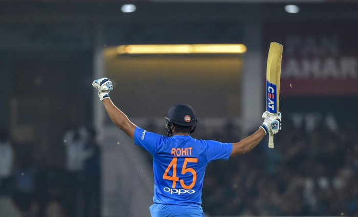 India's Rohit Sharma celebrates his century during the 2nd T20I match against West Indies at Bharat Ratna Atal Bihari Vajpayee International Cricket Stadium in Lucknow. (PTI Photo)