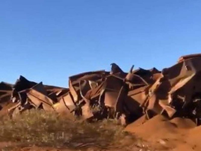 The train, made up of four locomotives, was eventually derailed at a set of points at Turner's Siding, about 120km south of Port Hedland. (Video grab/NDTV)