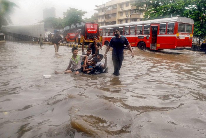 A flooded road after the Mumbai rain. PTI/FILE