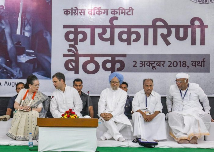 Congress President Rahul Gandhi, former Congress president Sonia Gandhi, former prime minister Manmohan Singh and other senior leaders at a function on the birth anniversary of Mahatma Gandhi at Sevagram in Wardha on Tuesday. PTI