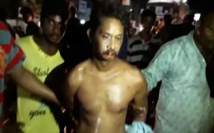 An English teacher who impregnated a minor girl was mercilessly beaten and paraded naked through the streets of Eluru town of Andhra Pradesh by her relatives on Wednesday.