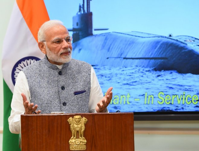 """PM Modi said that the underwater war boat is a """"fitting response"""" to those who indulge in """"nuclear blackmail"""". (Image: Twitter/@narendramodi)"""
