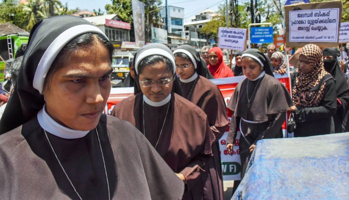 Nuns protest against the delay in action on a Roman Catholic church bishop who is accused of sexually exploiting a nun, in Kochi on Tuesday. PTI