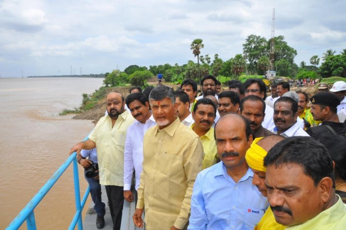 Andhra Pradesh Chief Minister N Chandrababu Naidu inspects the Pattiseema Lift Irrigation Project.