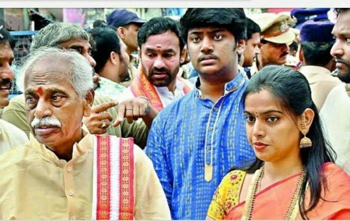 Former Union minister Bandaru Dattatreya (left) with son Vaishnav (centre).