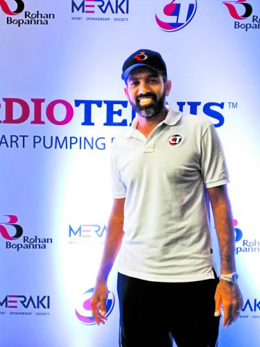 INNOVATIVE Rohan Bopanna at the launch of cardio-tennis, sport-inspired fitness form, in Bengaluru on Sunday. DH Photo