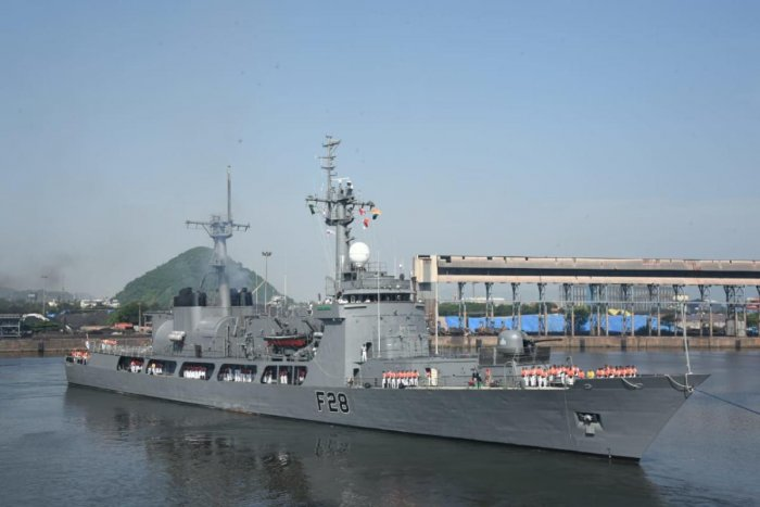 Bangladesh Naval Ship Somudra Joy arrived at Visakhapatnam on a four-day visit to the Eastern Naval Command (ENC) on Tuesday. (DH Photo)
