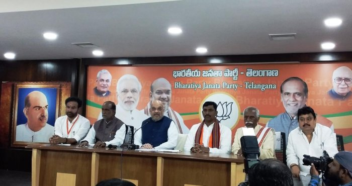 BJP national president Amit Shah addresses a press conference in Hyderabad on Saturday. (DH Photo)