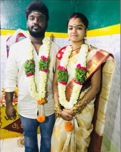 B Sandeep and Madhavi after their marriage in Hyderabad on September 12.