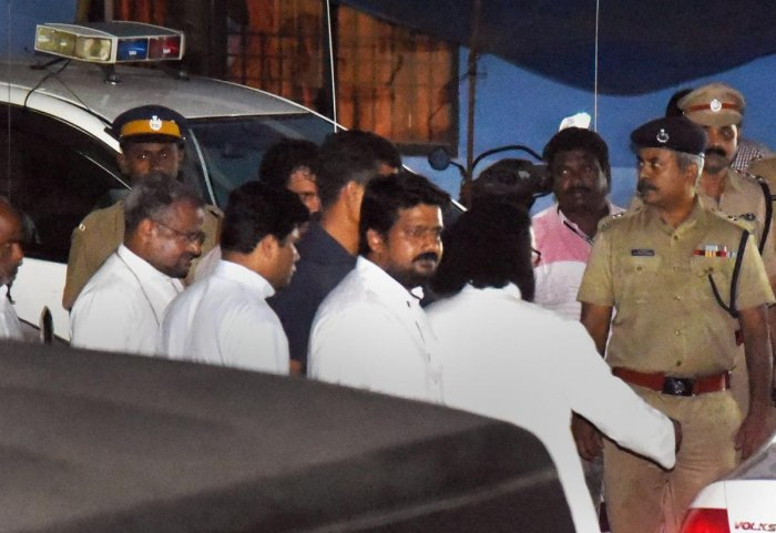 Rape accused Bishop Franco Mulakkal leaves after questioning by the special investigation team of the Kerala police, in Thrippunithura on Thursday. PTI