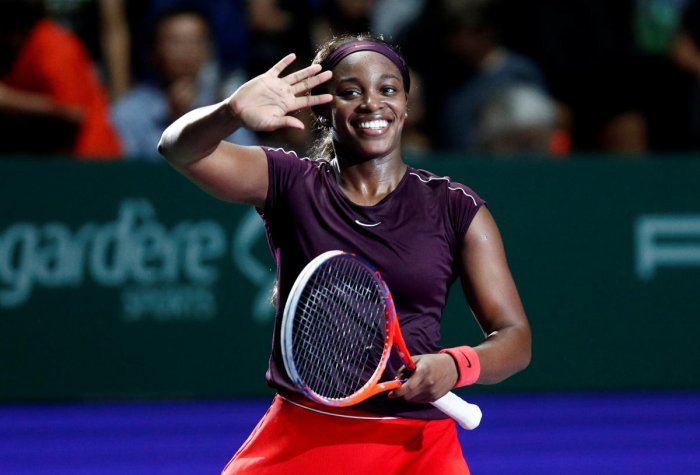 DELIGHTED Sloane Stephens of the US strikes a happy picture after beating Germany's Angelique Kerber to book her spot in the semifinals of the WTA Finals in Singapore on Friday. Reuters