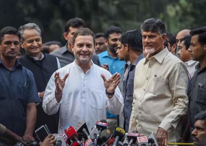 Congress President Rahul Gandhi along with Andhra Pradesh Chief Minister N Chandrababu Naidu. PTI file photo