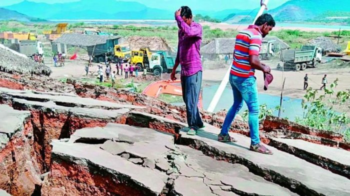 A damaged road near Polavaram project site. Credit: DH File photo