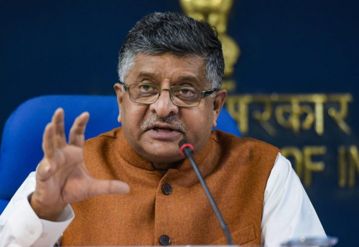Union Law and Justice Minister Ravi Shankar Prasad briefs the media after a Cabinet meeting, in New Delhi, Thursday. PTI