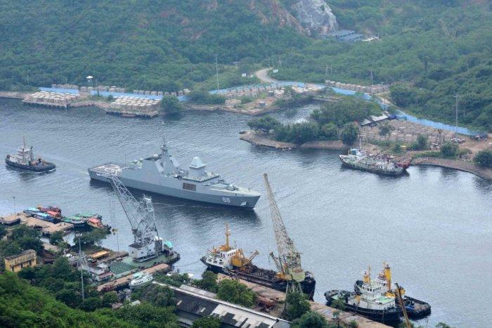 Singapore naval ship at Vizag. DH File Photo