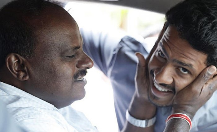 Chief Minister H D Kumaraswamy and Nikhil Gowda. File photo. Twitteer/JDSParty