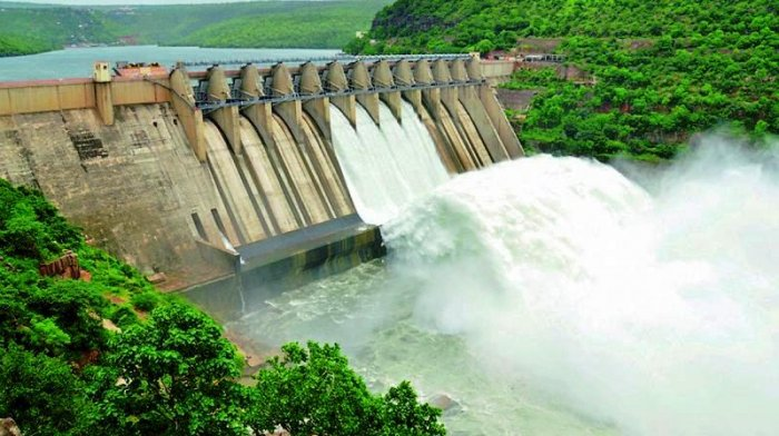 A view of the Srisailam Dam in the Mahbubnagar district of Telangana.