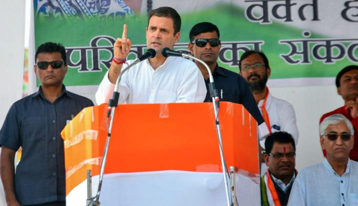 Addressing a rally ahead of the state Assembly polls, Gandhi said he wanted Madhya Pradesh and Chhattisgarh to become agriculture centres in five years and provide food, fruits and vegetables to the country. (PTI Photo)