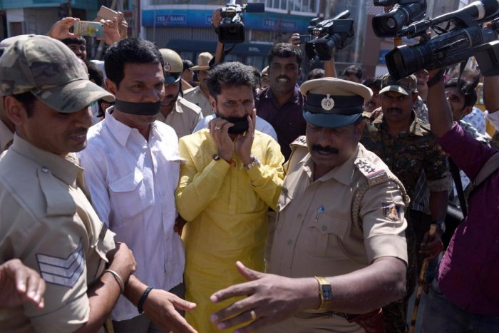 MLA C T Ravi and others were detained by the police for carrying out a protest against Tipu Jayanti in Chikkamagaluru on Saturday.