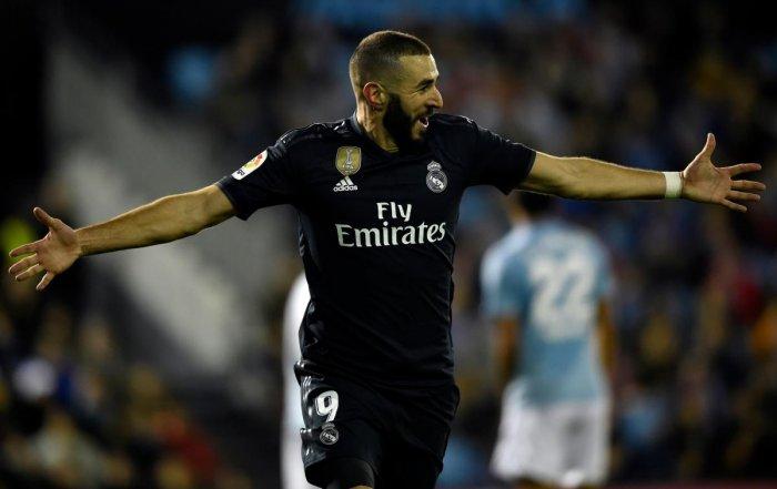 Karim Benzema celebrates after scoring against Celta Vigo