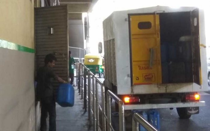 Utilities for leaseholders have hit the interests of commuters at several stations. At the Srirampura metro station, a restaurant's back door blocks an already narrow footpath.