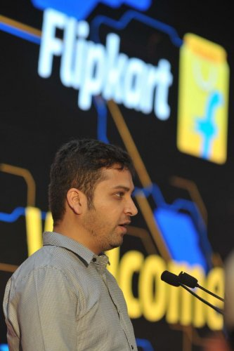 (File photo) In this photograph taken on October 30, 2015, Co-Founder of Flipkart Binny Bansal speaks during the launch of Flipkart's largest Fulfillment Centre on the outskirts of Hyderabad. AFP