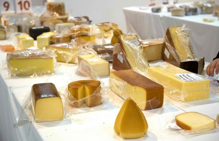 Some of the 3,500 cheeses are laid out during the World Cheese Awards 2018 in Grieghallen, Bergen, Norway on November 2, 2018. AFP File