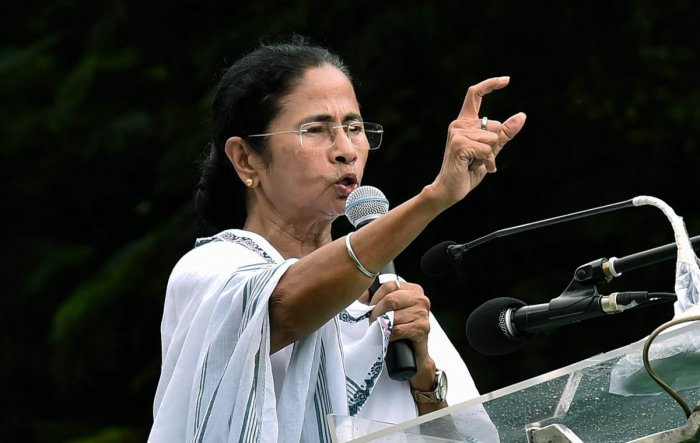 West Bengal Chief Minister Mamata Banerjee addresses a rally organised to celebrate foundation day of TMC Chhatra Parishad (Students Wing) in Kolkata on Tuesday, August 28, 2018. (PTI Photo)