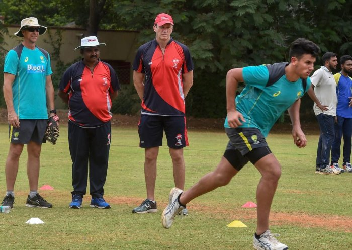 Former Australia Cricketer Glenn McGrath and Troy Cooley interact with the trainees of MRF Pace Foundation in Chennai, on Friday, July 27, 2018. (PTI Photo)